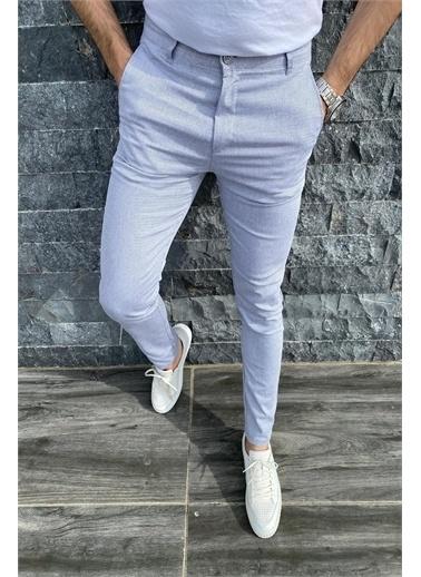Oksit Oksit Zoom 108 Desenli Slim Fit Likralı Keten Füme Pantolon Gri